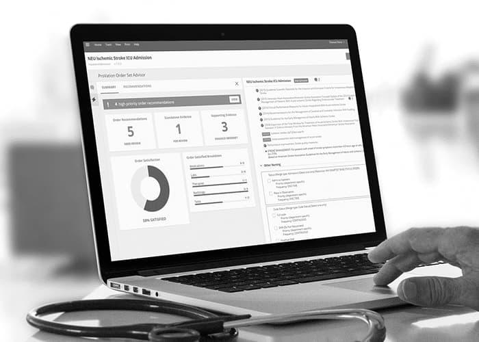 Order Set Advisor screen on laptop