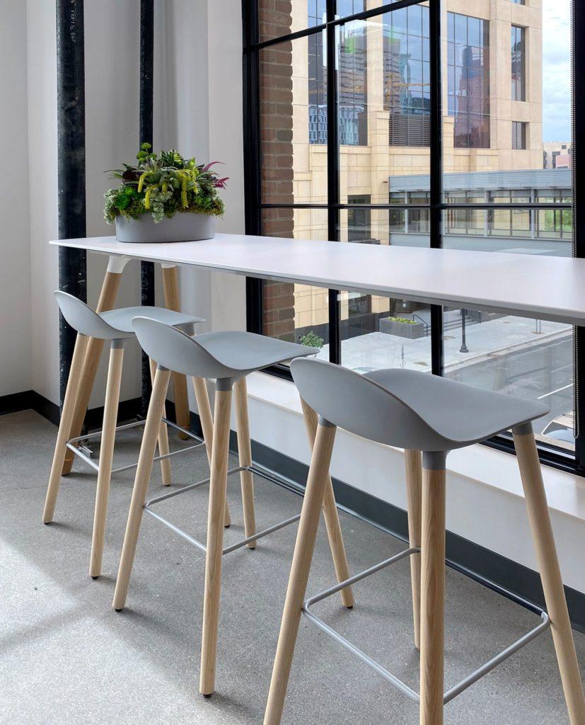 hightop tables next to window